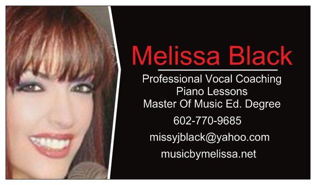 Music By Melissa - New Student infoMALE AND FEMALE SINGERS